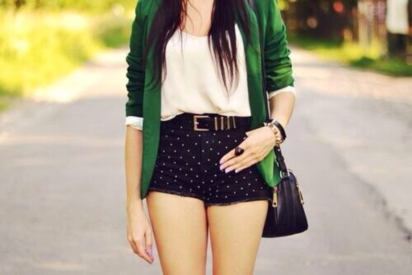 jacket green shoes shorts