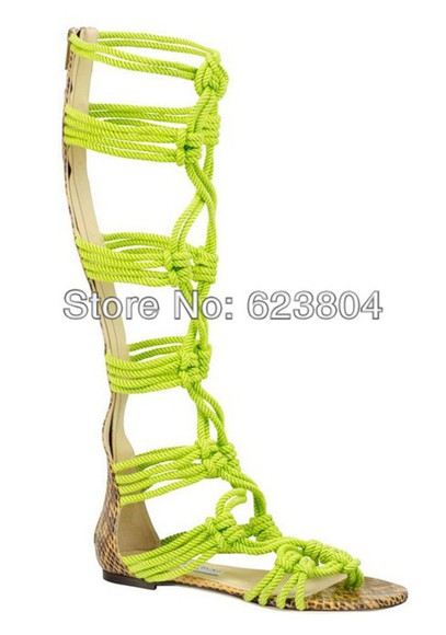 braided shoes rope sandals neon