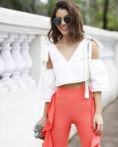 top,tumblr,crop tops,white crop tops,cut out shoulder,cut-out shoulder top,pants,peach,ruffle,sunglasses,spring outfits,cute,cute outfits,ruffle pants