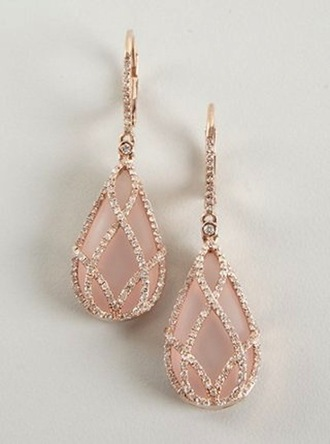 jewels pink bridesmaid earrings gold pll ice ball wedding accessories baby pink blush pink rose gold diamonds pink earrings gold earrings