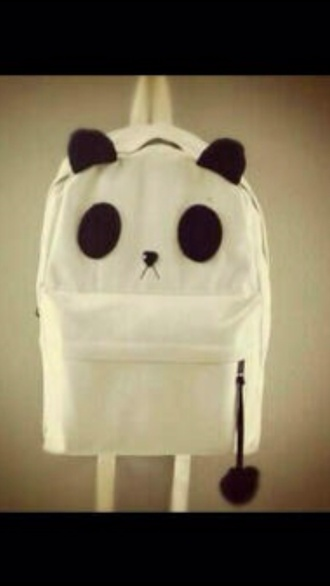 bag panda white blavck backpack cute