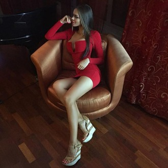dress red dress red dress short long sleeves long sleeve dress red