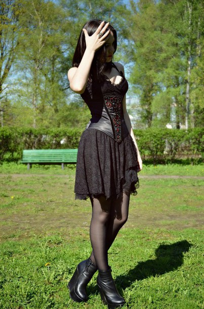 dress black dress black corset corset dress gothic dress goth emo dress emo gothic lolita lace lace dress black platform shoes shoes mini dress