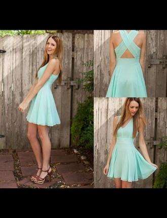 dress cute dress mint dress x back brown and gold heels beautiful