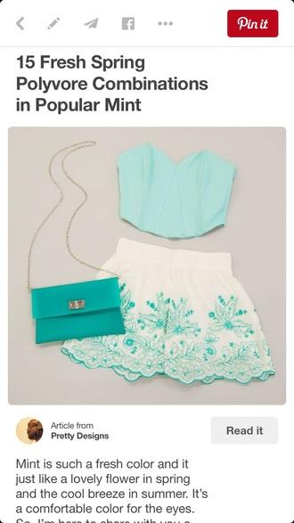 shorts mint lace shorts white lace shorts