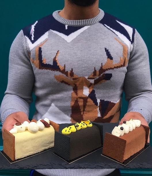 sweater grey deer wool mountain  christmaas