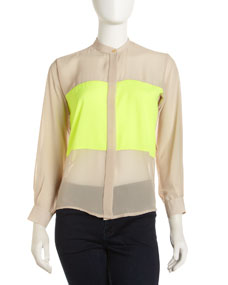 Naven Two-Tone Oversize Blouse, Nude/Neon Yellow - Neiman Marcus Last Call