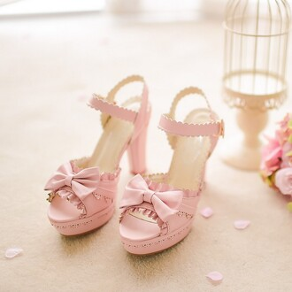 shoes princess shoes bow lotus sandals high heels cute harajuku japanese japanese fashion japanese cosplay gyaru gyaru fashion hime gyaru gaijin gyaru sweet gyaru japanese inspiration pink pink shoes