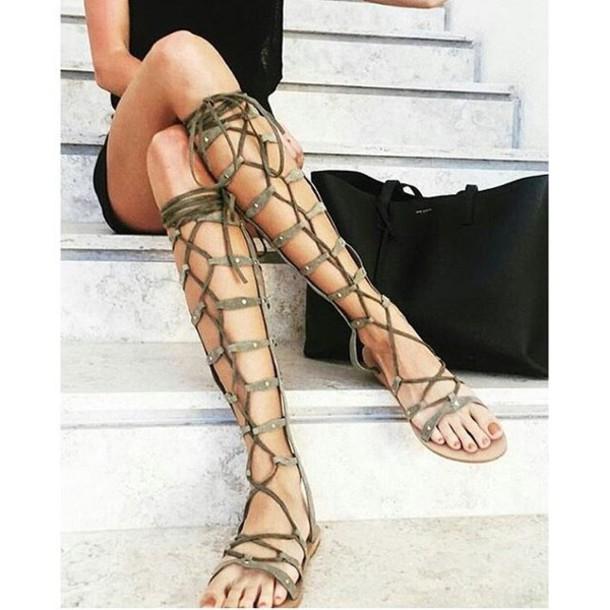 shoes raye strappy sandals gladiators knee high gladiator sandals lace up  sandals leather festival coachella revolve
