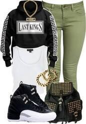 shoes,sweater,hoodie,jeans,jacket,last kings,tyga,shirt,tyga last kings,gloves,bag,jewels,shorts,urban,black