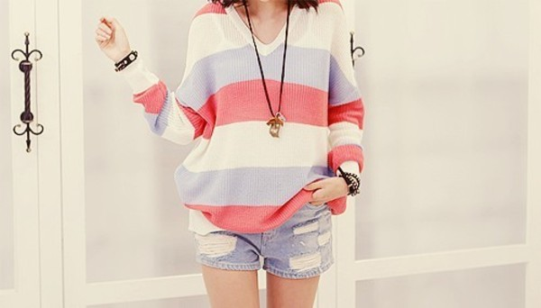 sweater pastel blue clothes red knitwear amazing knitted sweater jumper cute pink purple strip striped sweater colorful color/pattern white light girly girl teenagers outfit idea vintage v neck warm