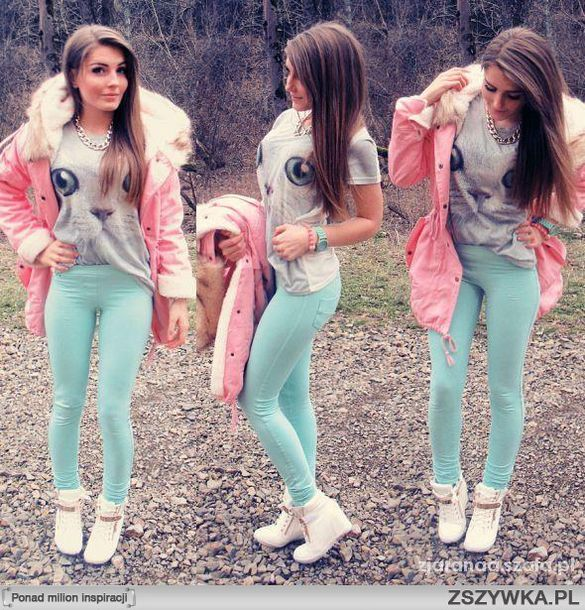 jeans jeggings leggings shoes shirt jacket pink jacket pink faux fur jacket fur blouse pants coat pastel cat shirt giuseppe zanotti cats bag
