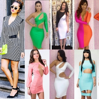 dress open front bodycon dress cut-out dress houndstooth bandage dress deep v neck one sleeve dress backless dress