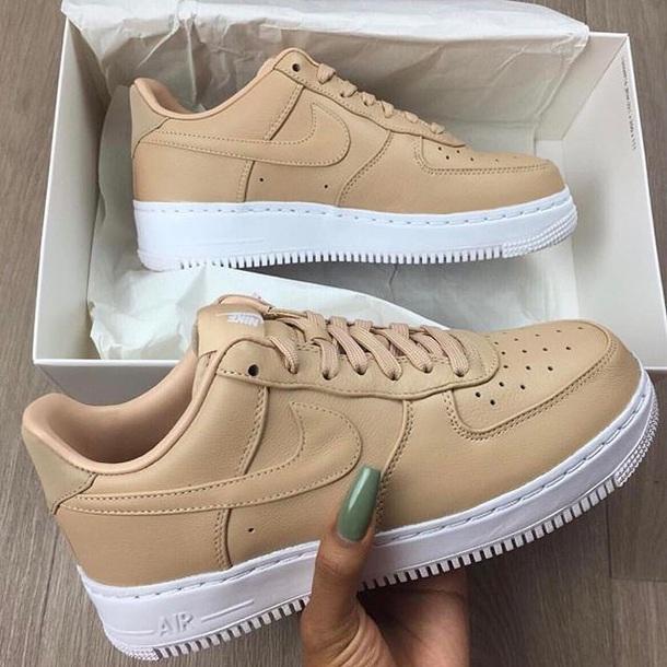 shoes beige nude nike air force nike white