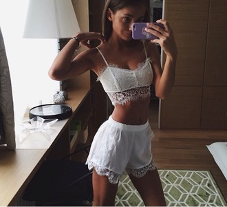 top white lace two-piece crop tops