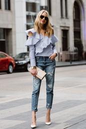 fashionjackson,blogger,top,jeans,shoes,bag,sunglasses,jewels,clutch,ysl bag,blouse,pumps,high heel pumps