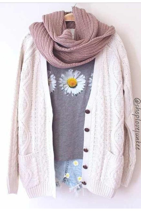 t-shirt daisy daisy blumen print gänseblümchen shorts sweater cardigan knit