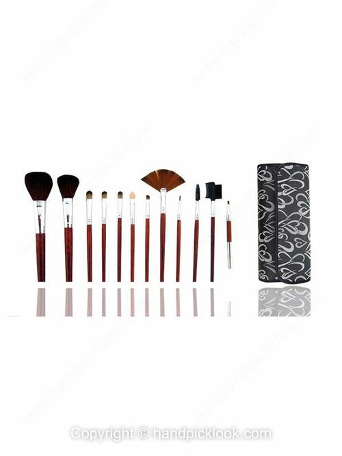12pcs Burgundy Professional Makeup Brush Set with Black Heart Print Case - HandpickLook.com