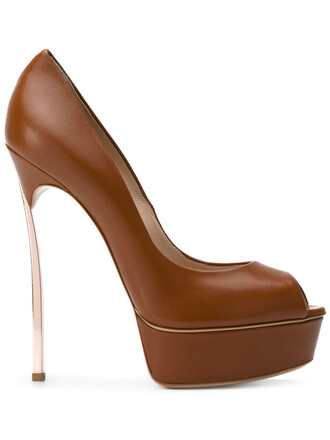 open women pumps leather brown shoes