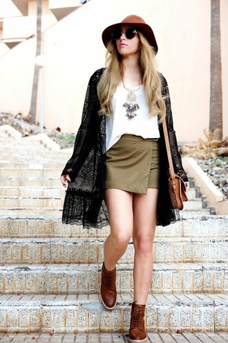 moon magik blogger hat dreamcatcher necklace skorts kimono brown leather boots shoes bag
