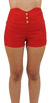shorts,red,high waisted