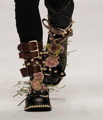 shoes belt flowers boots studded gold black pink rose