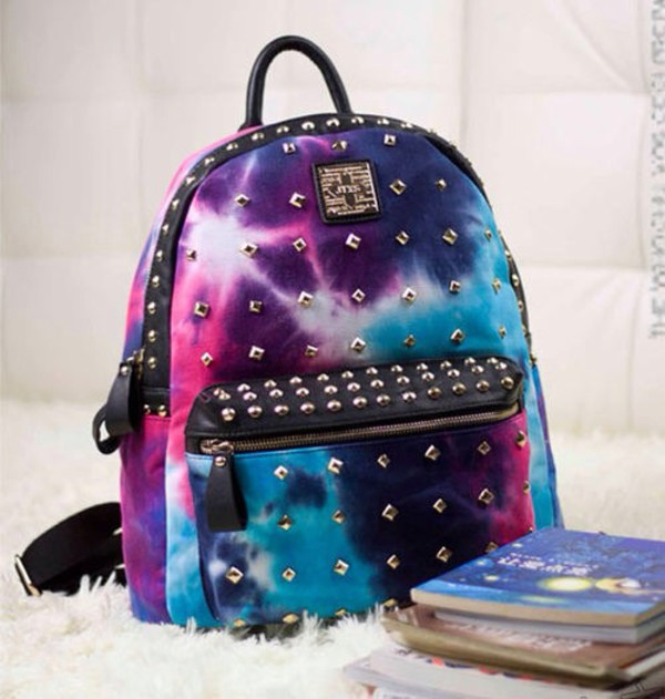 bag galaxy print backpack studded