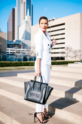 the courtney kerr blogger white jacket tailoring white pants celine bag jacket pants top shoes bag jewels