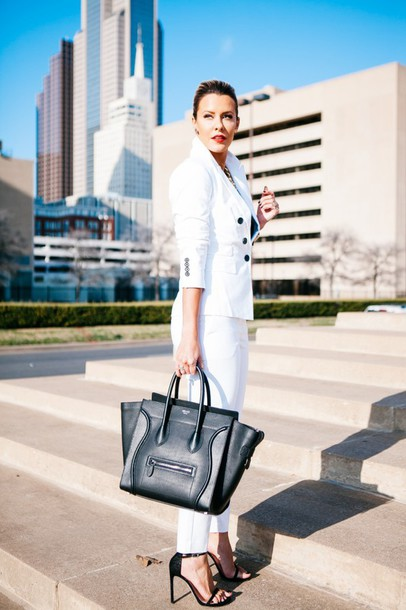 the courtney kerr blogger white jacket tailoring white pants celine bag jacket pants top shoes bag jewels