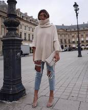 jeans,ripped jeans,high waisted jeans,sandals,high heel sandals,shoulder bag,turtleneck,oversized turtleneck sweater,sunglasses,sweater,knitted sweater,turtleneck sweater,cashmere jumper,cropped jeans