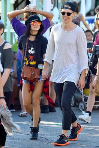 sunglasses t-shirt vanessa hudgens shorts mickey mouse