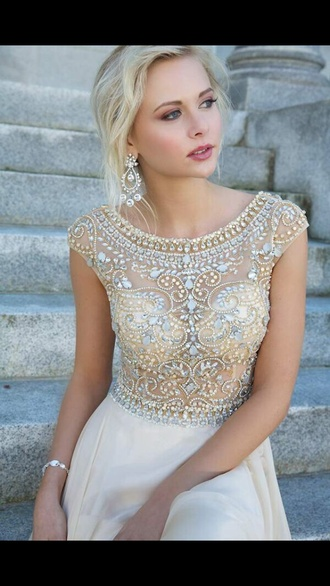 dress cream prom dress short sparkly sheer see threw