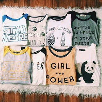 t-shirt t shirt print top printed t-shirt stay weird moon phases food quote on it coffee yoga pants panda dog