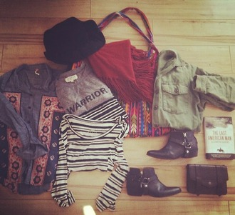 t-shirt army green army green jacket warrior tee red red scarf aztec aztec bag shoes clutch shirt black hat cute boho fashion clothes
