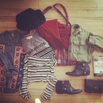 red scarf fashion red clothes cute black shoes shirt t-shirt army green army jacket warrior tee aztec aztec bag clutch hat boho scarf red