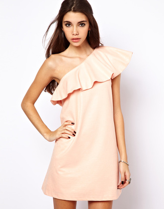 dress peach peach dress one shoulder one shoulder dresses one shoulder dress one-shoulder dress one-shoulder ruffle ruffle dress ruffles