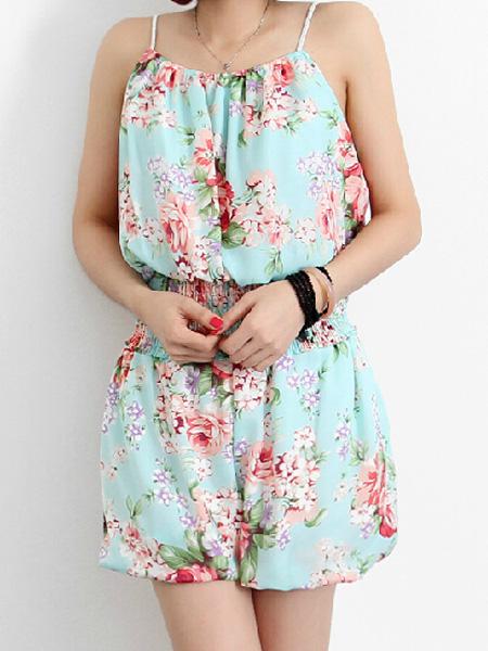 Light blue floral elastic hemline strap top with loose elastic shorts