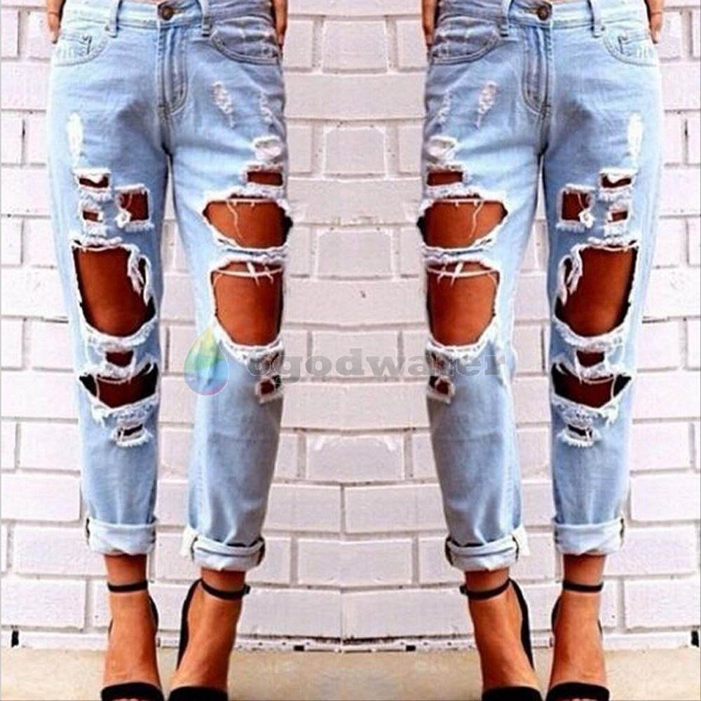 Destroyed Ripped Distressed Slim Denim Pants Boyfriend Jeans ...