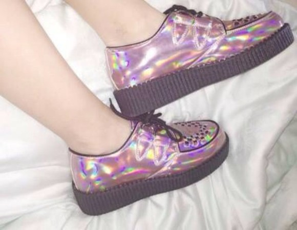 shoes grey creepers grunge shoes