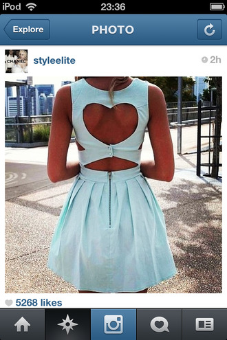dress blue baby blue heart heart cut out blue dress pastel blue dress