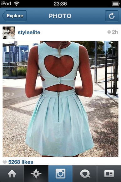 dress pastel blue dress blue baby blue heart heart cut out blue dress