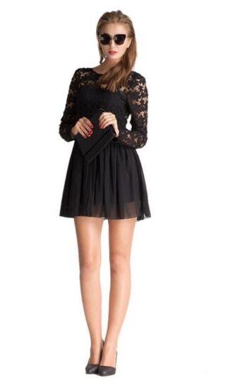 dress black dress lbd little black dress lace top dress long sleeve dress skater dress www.ustrendy.com