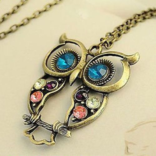 Fashion Retro Vintage Copper Colorful Crystal Owl Pendant Necklace Chain Long | eBay