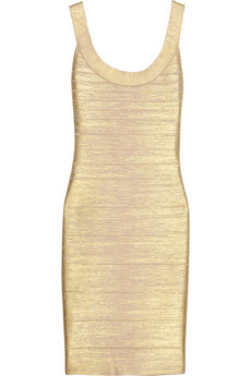 Metallic coated bandage dress | Hervé Léger | THE OUTNET