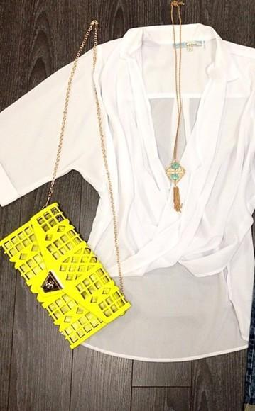 blouse white bag clutch neon