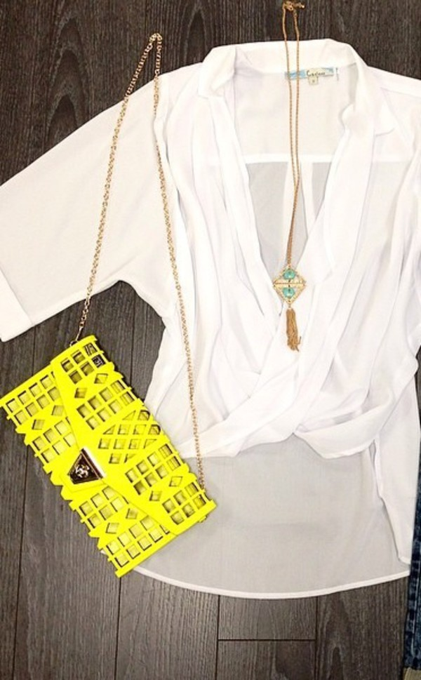 bag clutch neon blouse white