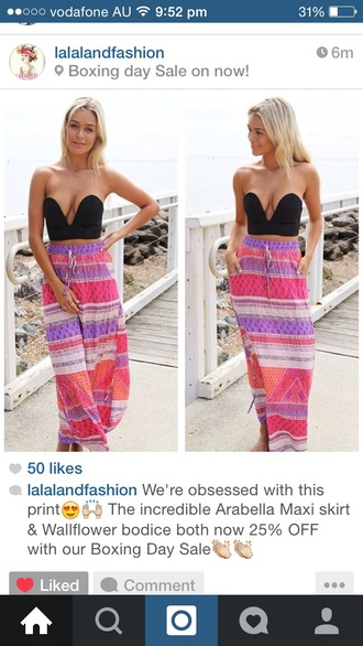 skirt maxi skirt colourful pretty