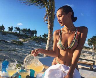 swimwear bikini bikini top bikini bottoms bella hadid instagram summer model off-duty