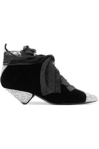 velvet ankle boots embellished ankle boots lace black velvet shoes