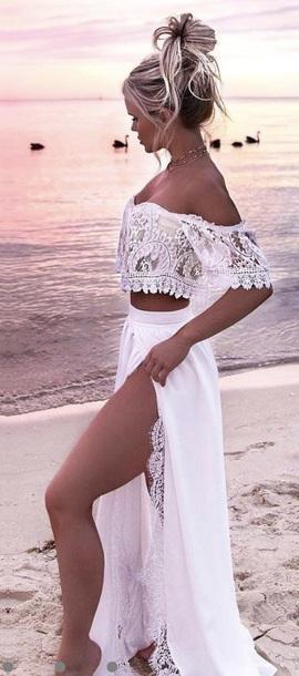 Dress White Dress Two Piece Dress Set Romantic Dress